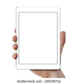 Man's hand holding white tablet.