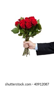 A man's hand holdng a dozen red roses on a white background with copy space