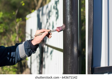 A man's hand holds a paintbrush and paints a black metal pole of the fence