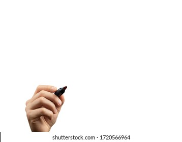 mans hand with marker write on an isolated white background. Writing hand. Hand holding black Pen.