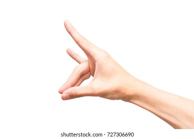 A man's hand on a white background.