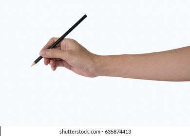 man's hand with the pencil isolated on white background. cut space