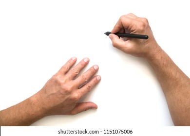 Man`s hand are prepairing buisness plan. Copy Space. Hands with pen are writing documentation.