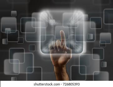 Man's hand pushing the button. Touchscreen. Rear view.