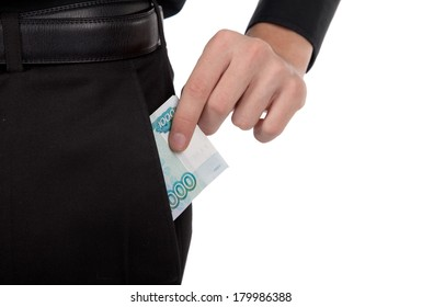 man's hand puts money in your pocket