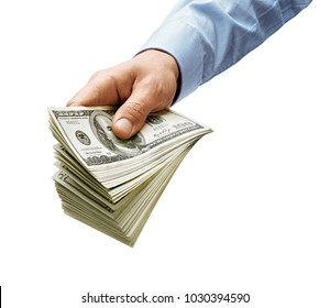 Man's hand in shirt giving money isolated on white background. High resolution product. Close up