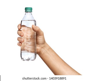 Man's hand in shirt holds bottle of water, isolated on white background. Close up. High resolution product
