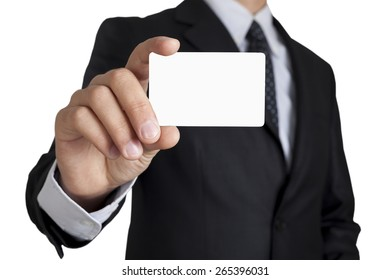 Man's hand showing business card - closeup shot on white background  included clipping path