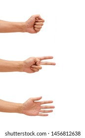 Man's hand showing a game Rock-paper-scissors.
