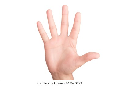 Man's hand showing number five isolated on white background