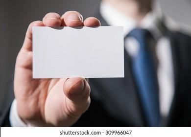 Man's hand showing visiting - closeup shot