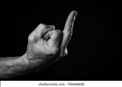 "The man's hand shows an indecent gesture ""fuck you"""