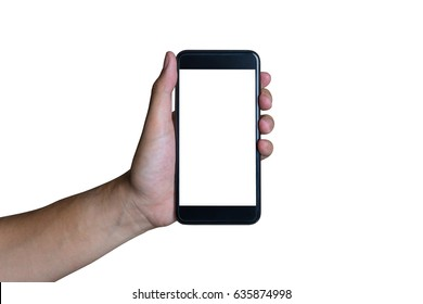 Man's hand shows mobile smartphone with white screen in vertical position isolated on white background - mockup template and clipping path