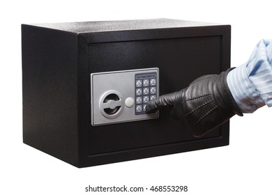 Man's hand in a striped shirt and black gloves breaking a safe, isolated on white. Small home or hotel safe.