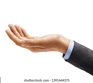 Man's hand in suit begs to something isolated on white background. Palm up, close up. High resolution product