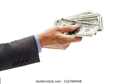 Man's hand in suit giving cash money isolated on white background. High resolution product. Close up