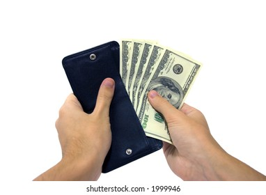 A mans hand taking out money from the wallet. Clipping path included.