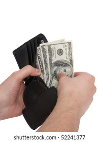 A mans hand taking out money from the wallet.