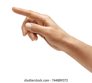 Man's hand touching or pointing to something isolated on white background. Close up. High resolution.