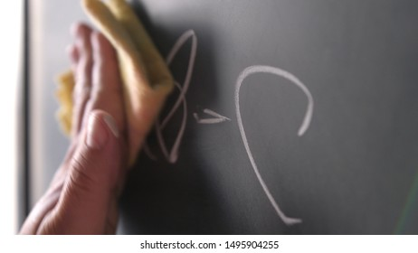 The man's hand wipes the chalkboard. Close-up.