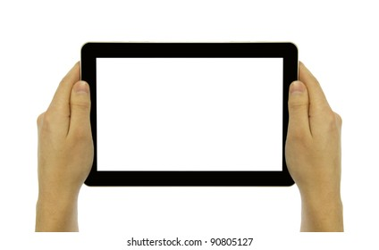 man's hands holding touch screen on a white background