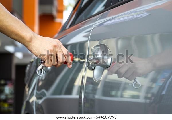 Key Car Dealership >> Mans Hands Opening Car Key Car Stock Photo Edit Now 544107793