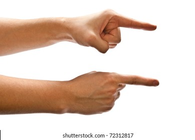 Man's hands pointing the direction to follow. White background.