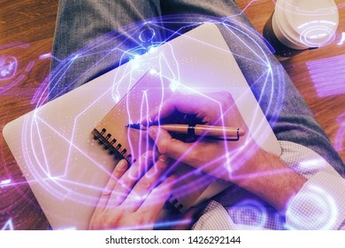 Man's hands working with notes background. Scientist checklist or entry data, research and experiment concept.