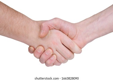 A man's handshake, symbolizing a truce or a Treaty on a white background
