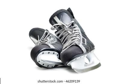 Man's hockey skates. Isolated on white background.