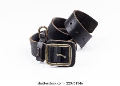 Man's leather belt on white background