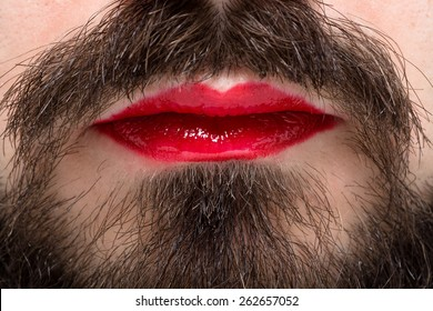 Man's Mouth with Red Lipstick on His Lips and Brown Beard