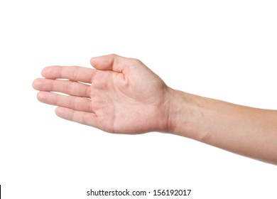 Man's palm faced to camera isolated on white background