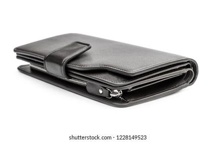 Man's purse on white background.