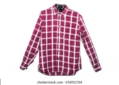 Man's red cotton plaid shirt isolated on the white background
