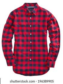Man's red green cotton plaid shirt