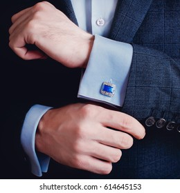 Man's style. dressing suit shirt and cuffs
