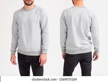 Man's sweatshirt of grey color. Front view, back view