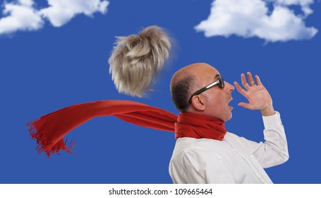Man's toupee blown away by wind