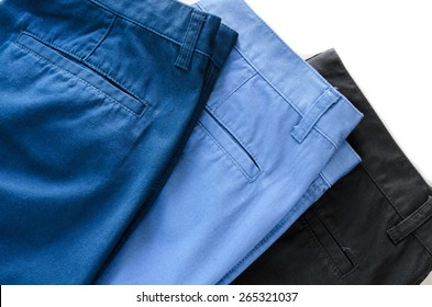 Man's trousers on white background showing  pocket