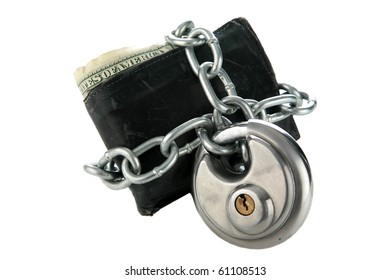 a mans wallet with a chain and lock. isolated on white
