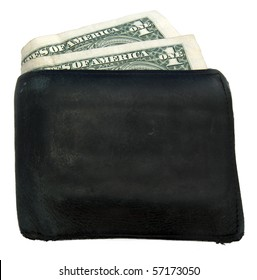 A mans wallet that is well worn isolated on a white background with one dollar bills sticking out.