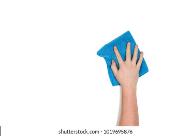 Man's or woman's isolated hand cleaning on a white background. Concept image with copy space for text or design elements. Image taken from above, top view