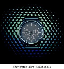 Mans Wrist watch on a blue tech background