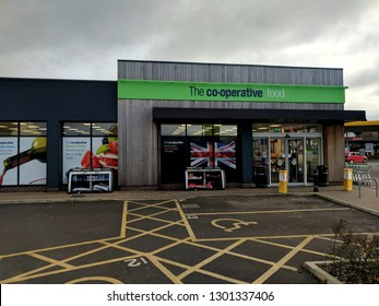 MANSFIELD, ENGLAND - FEBRUARY 1, 2019: The Exterior and sign of a Co-op (also known as Co-operative) seven-eleven convenience store in Mansfield, UK
