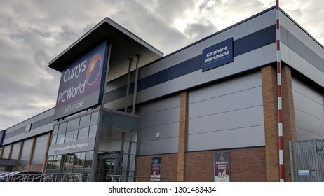MANSFIELD, ENGLAND - FEBRUARY 1, 2019: Exterior of Currys PC World superstore in Mansfield, UK
