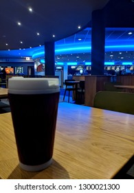 MANSFIELD, ENGLAND - JANUARY 30, 2019:  Interior view of Odeon multiplex cinema from the cafe/bar area with slight bokeh effect