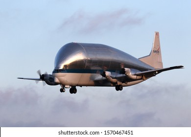 MANSFIELD, OHIO / USA – NOVEMBER, 24: NASA Super Guppy Turbine N941NA on desent to the Mansfield Lahm Airport. This airplane is hauling the Orion Spacecraft crew and service modules at the time.