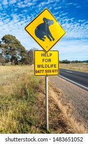 Mansfield, Victoria, Australia – March 24, 2017. 'Koala' road sign and Help for Wildlife phone number.
