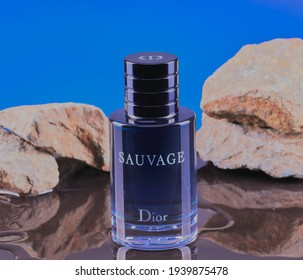 Mansfield,Nottingham,United Kingdom-20th March 2021:studio product image of men's fragrance Sauvage by Dior.